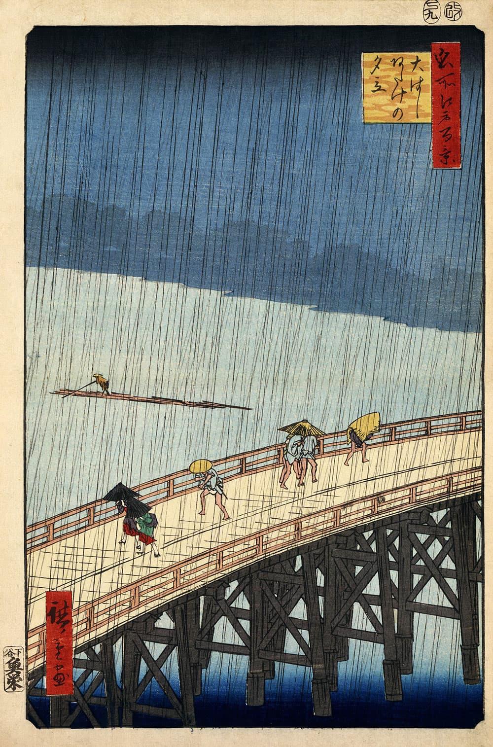 Sudden Shower over Shin-Ōhashi bridge and Atake (1857) by Hiroshige