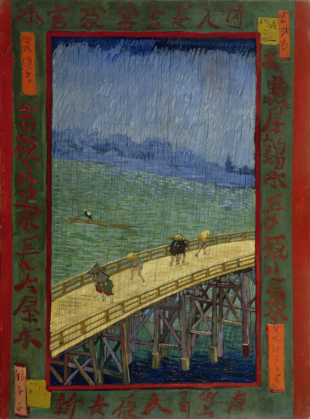 The Bridge in the Rain (after Hiroshige) (1887) by Vincent Van Gogh